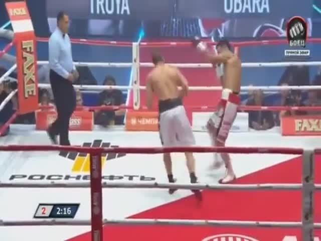 Эдуард Трояновский «скинул» Кейта Обару соперника за пределы ринга