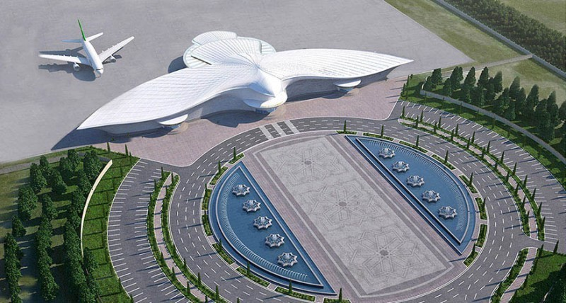 В Туркменистане открылся аэропорт в виде летящего сокола