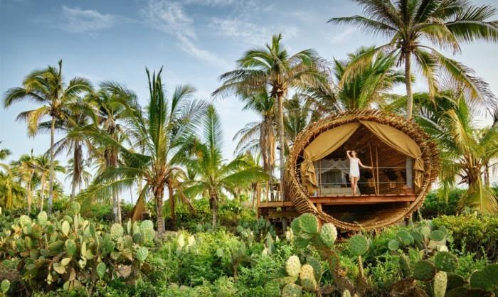 Райское место для отдыха: бамбуковый дом на дереве