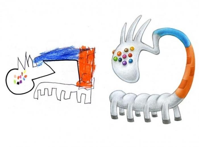 Художник создаёт очаровательных монстров из детских рисунков (18 фото)