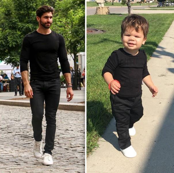 1,5-годовалый малыш воссоздает фото своего дяди-модели (22 фото)