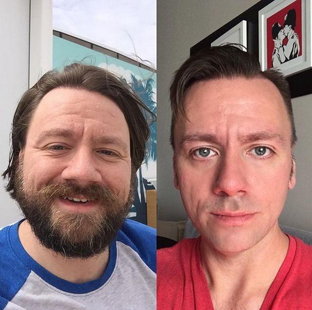 Мужчины с бородой и без (19 фото)
