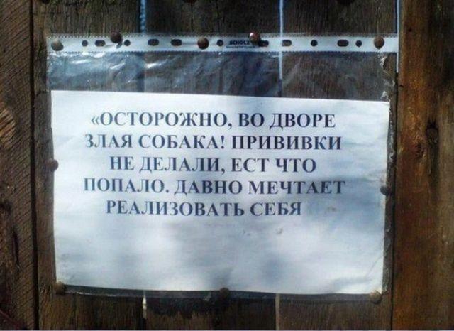Необычные информационные таблички с калиток, ворот и заборов (15 фото)