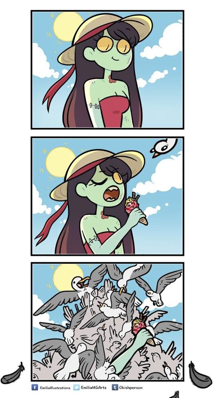 Забавные комиксы о нелегкой жизни девушки-зомби и ее друзей