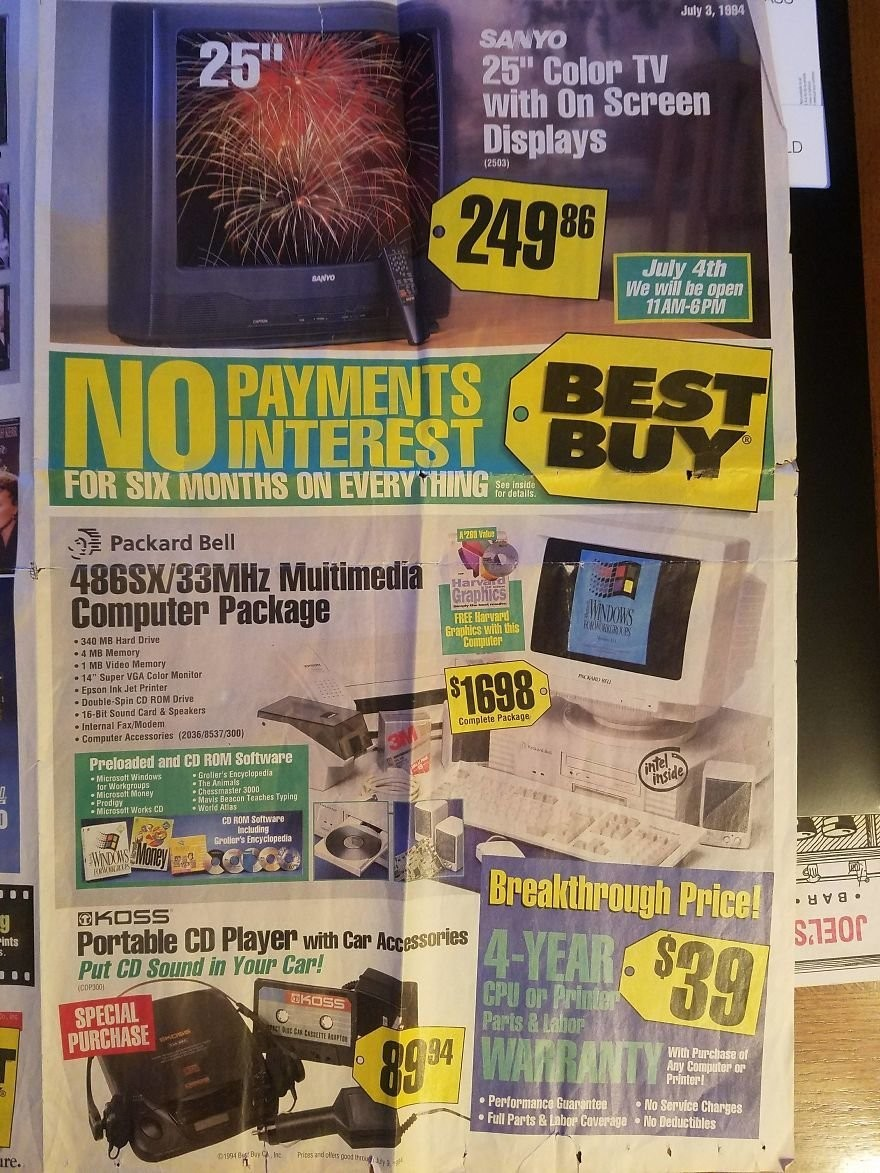Этот рекламный проспект 1994 года показывает самую крутую технику того времени (10 фото)