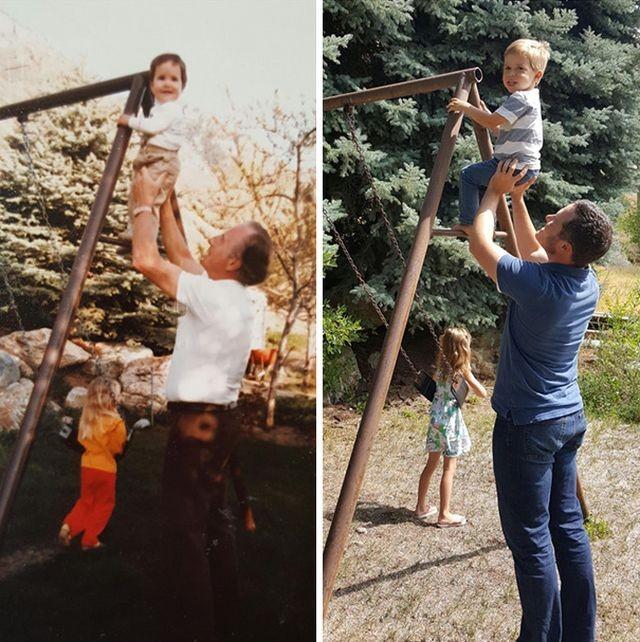Пользователи сети повторяют старые фото своих родственников (20 фото)