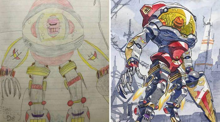 Художник рисует героев аниме на основе рисунков своих сыновей (13 фото)