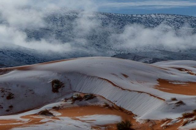 В пустыни Сахара второй год подряд выпал снег (9 фото)