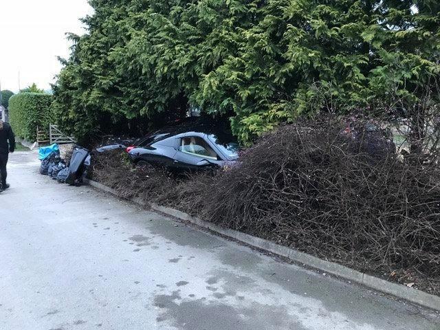 Ferrari 458 Spider въехал в сад (4 фото)