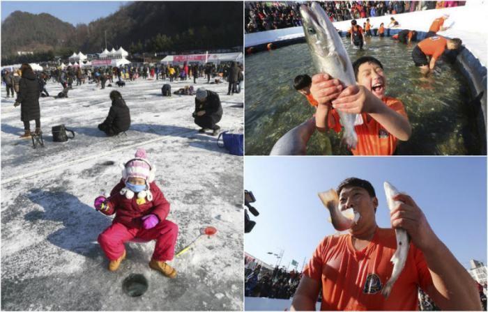 Конкурс по ловле форели в Южной Корее (11 фото)