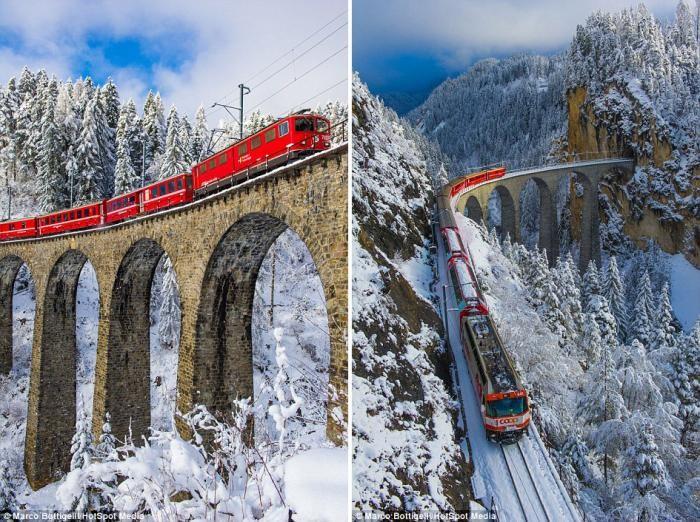Самая живописная железная дорога Европы в Швейцарских Альпах (13 фото)