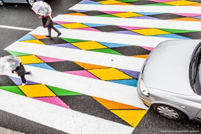 Красочные пешеходные переходы в Мадриде (12 фото)