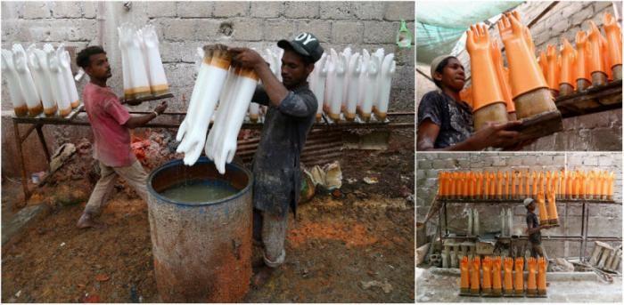 Производство резиновых перчаток в Пакистане (6 фото)