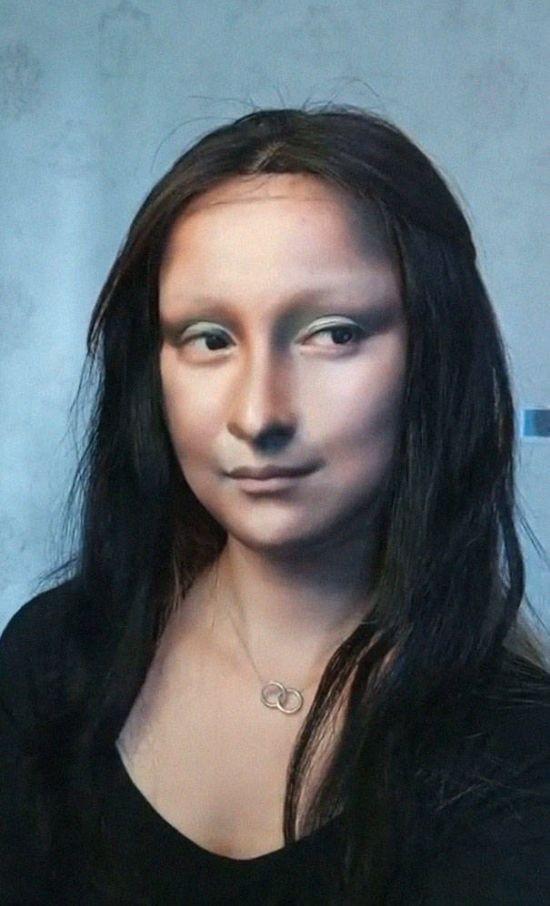 Китаянка превратила себя в живую Мона Лизу (8 фото)