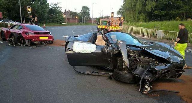 В Великобритании участники дорогой аварии сбежали с места ДТП (5 фото)