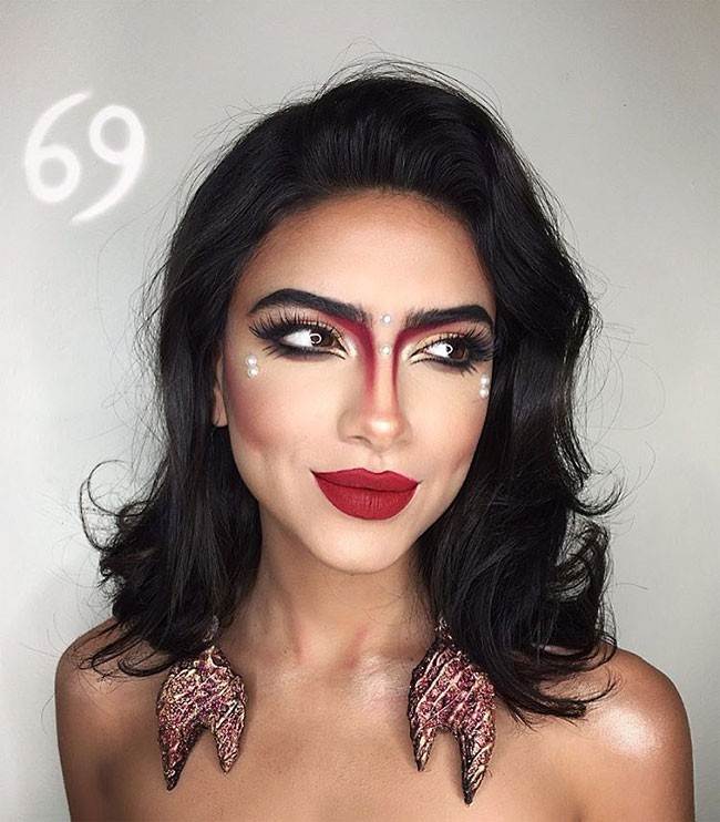 Художница с помощью макияжа сделала знаки зодиака (13 фото)