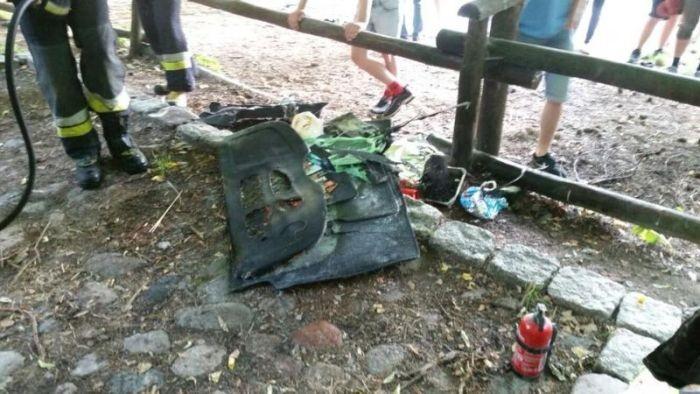 Любитель шашлыка едва не спалил автомобиль (3 фото)