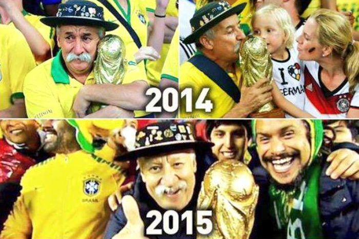 Традицию бразильского болельщика продолжают его сыновья (3 фото)
