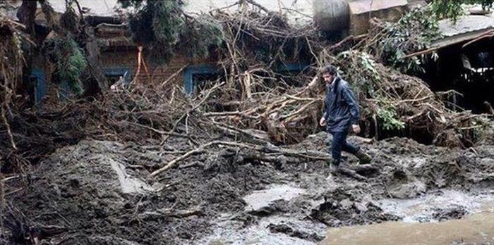 Вице-премьер помог в ликвидации последствий наводнения (4 фото)
