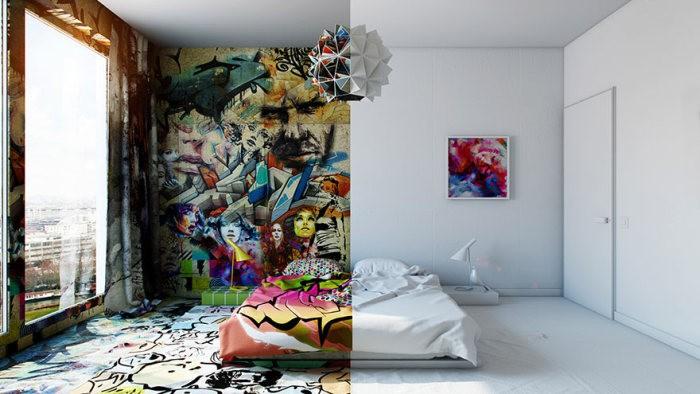 Удивительное сочетание: 2 разных комнаты в одной (6 фото)