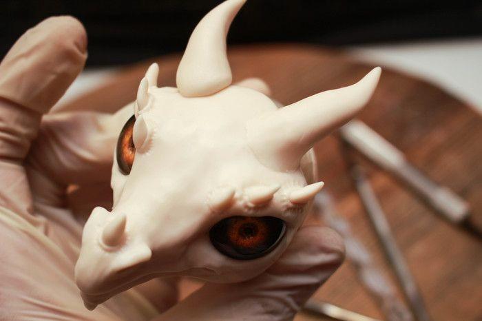 Голова дракона из полимерной глины своими руками (20 фото)