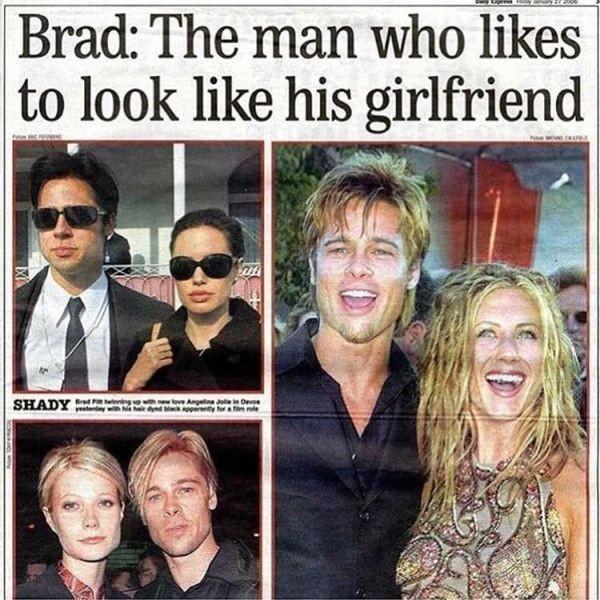 Брэд Питт - человек-хамелеон, копирующий внешность девушек (10 фото)