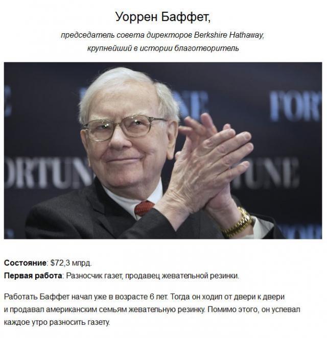 Первые работы самых богатых людей планеты (10 фото)