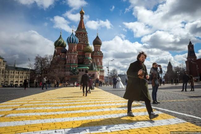 Загадочные зебры на Красной площади (9 фото)
