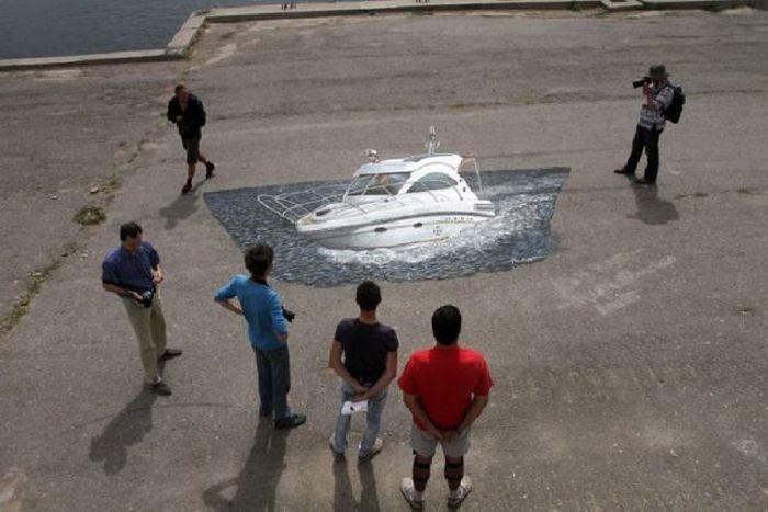 Наказали за иллюзию на асфальте (4 фото)