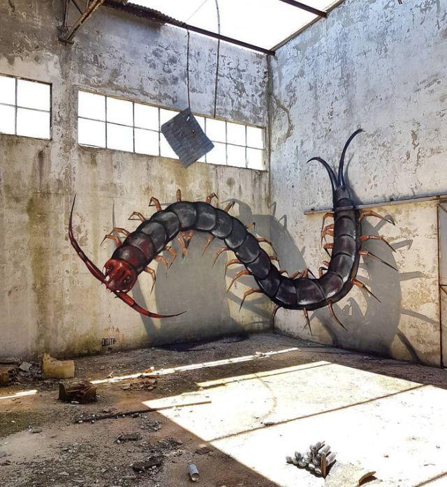 3D-рисунки на стенах, пугающие своей реалистичностью (9 фото)