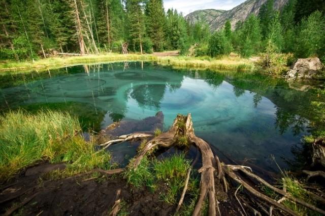 Красивое гейзерное озеро в Горном Алтае (5 фото)