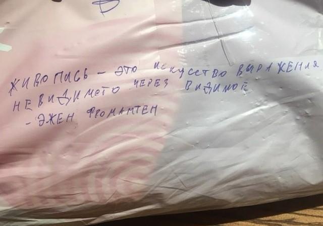 Пассажирку самолета попросили сдать хрупкую картину в багаж (4 фото)