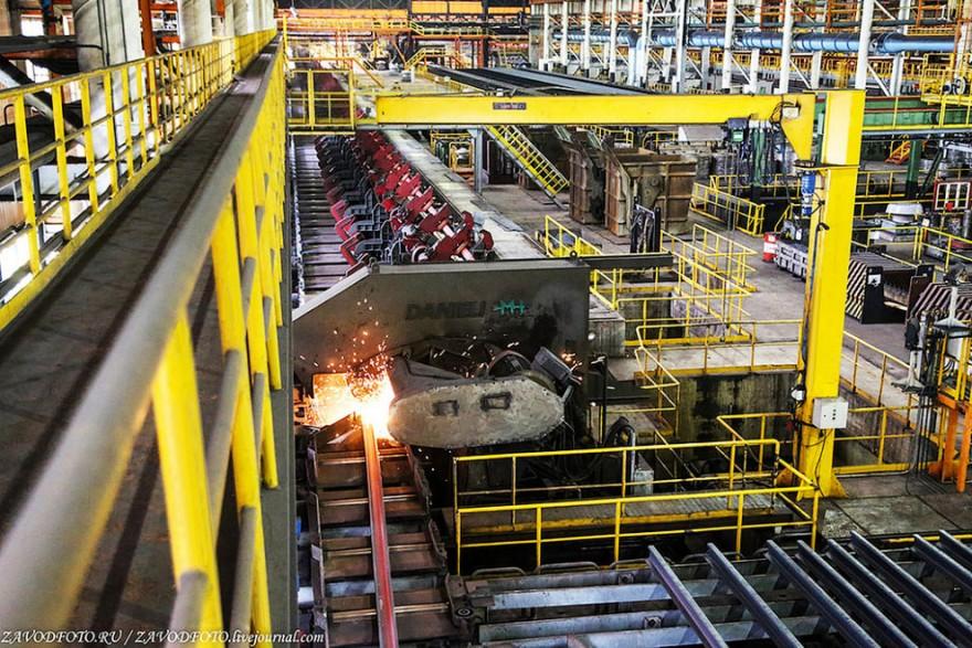 Процесс производства рельсов для поездов