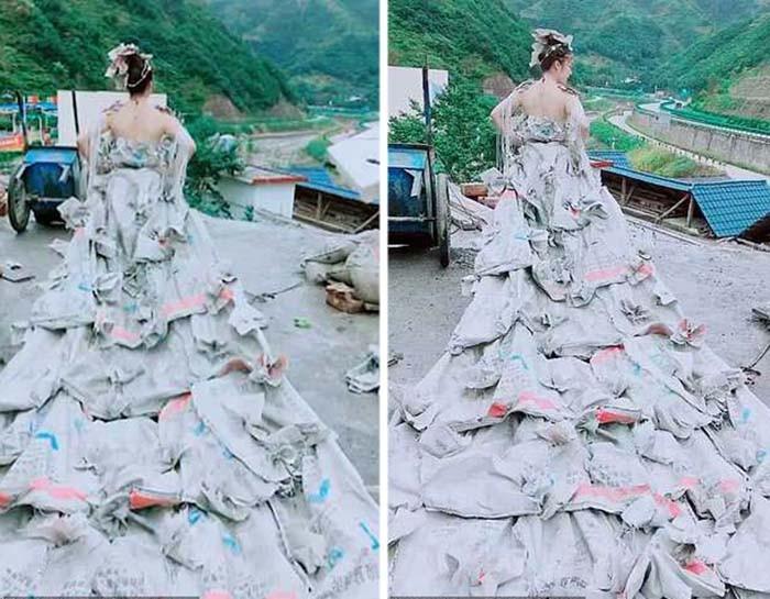 Свадебное платье из 40 мешков