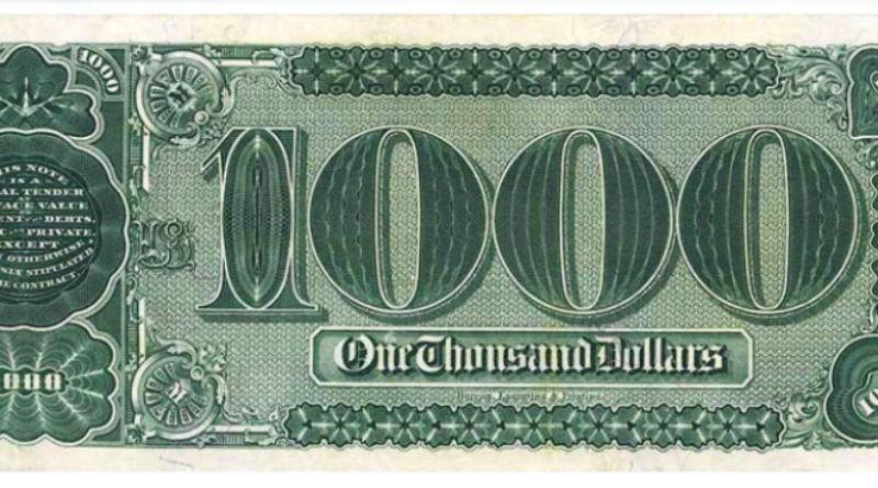 1000-долларовую банкноту продали за 2 млн.долларов